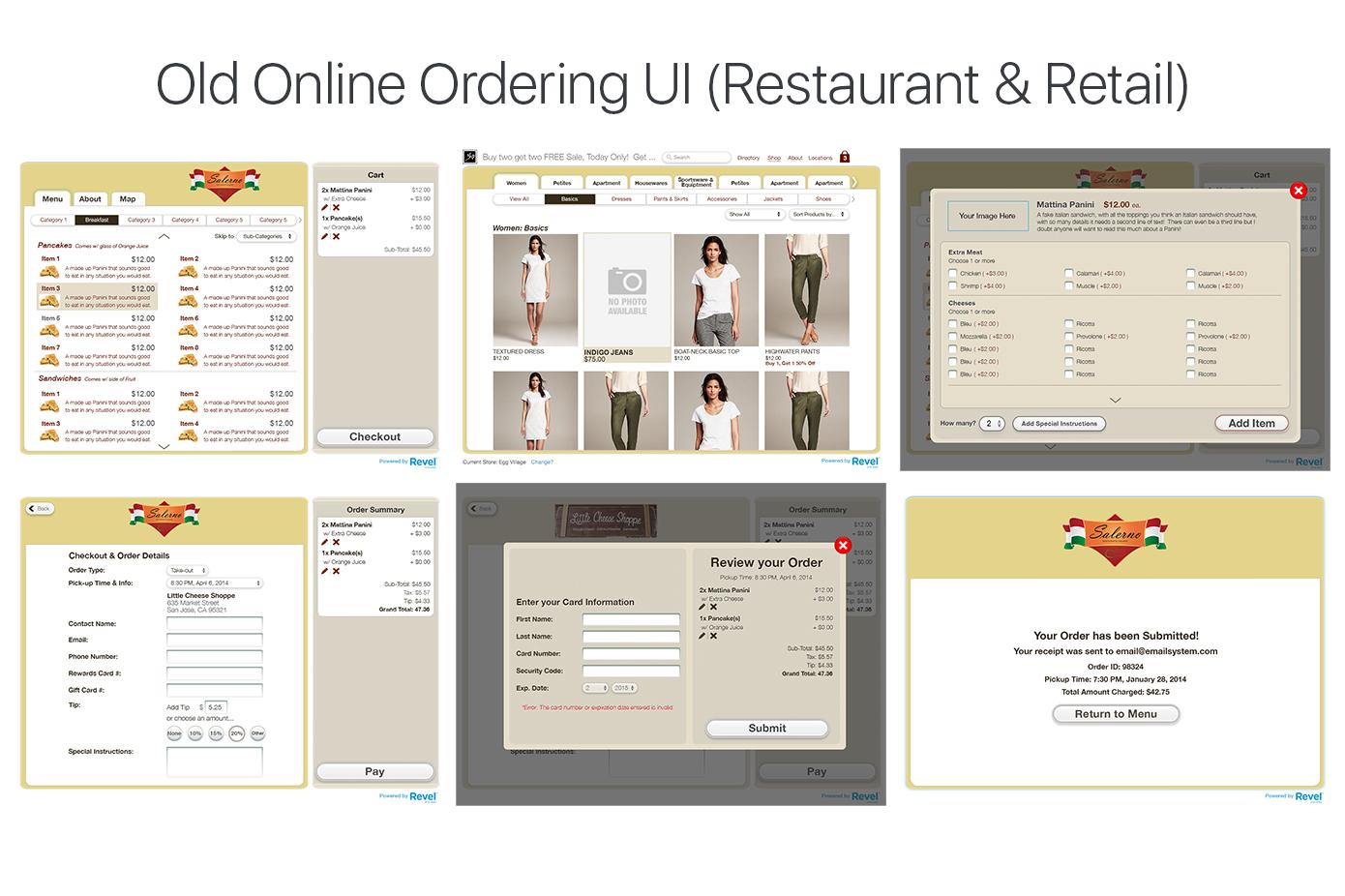 Old Online Ordering UI